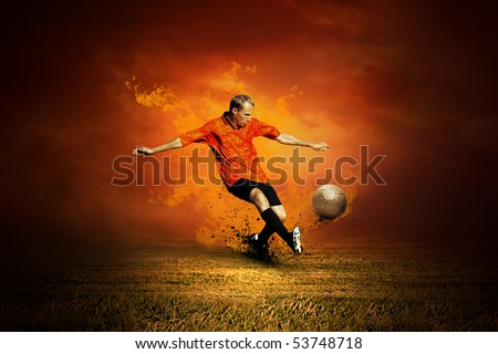 Football player on the field and fire
