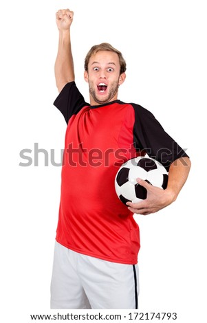 Football player with a ball isolated in white #172174793