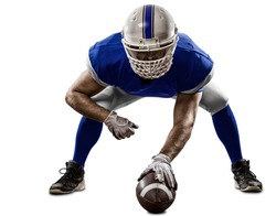 Football Player with a blue uniform on the scrimmage line, on a white background.