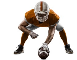 Football Player with a orange uniform on the scrimmage line, on a white background.