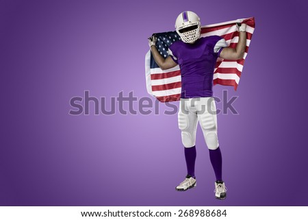 Football Player With A Purple Uniform And American Flag On Background