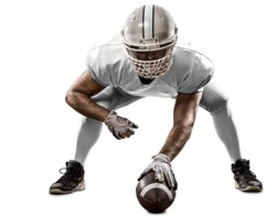Football Player with a white uniform on the scrimmage line, on a white background.