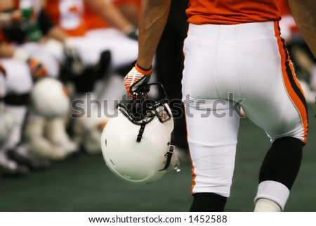football player with helmet  closeup