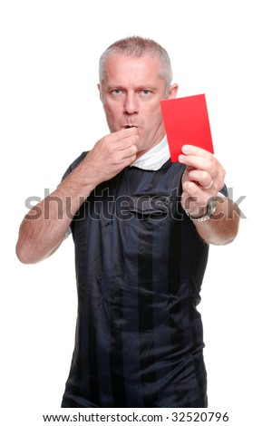 Football referee showing you the red card, isolated on a white background.