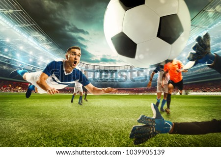 Football scene with competing football players at the stadium. 3D Rendering #1039905139