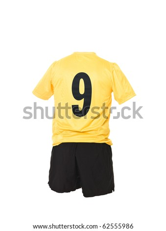 Football shirt with number 9 isolated on white background