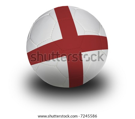 Football (soccer ball) covered with the English flag with shadow on a white background.  Clipping path included.