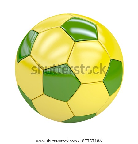 football (soccer ball) with brazilian colors isolated on white. 3d render. illustration