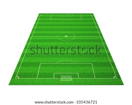 Football (soccer) field isolated on white background
