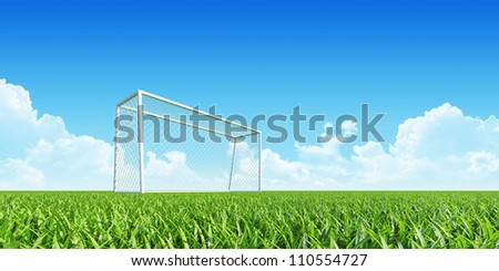 Football (soccer) goal on clean empty playing field. Grass closeup. Concept for team, championship, league, competition poster / website design. One from collection.