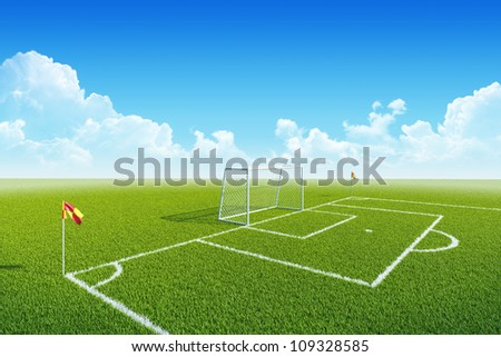 Football (soccer) goal, penalty zone and corner flag on clean empty playing field. Concept for team, championship, league, competition poster / website design. One from collection.