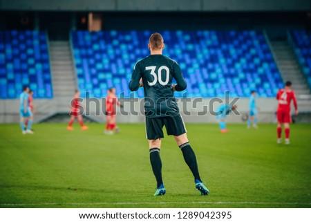 Football, soccer goalie at the stadium #1289042395