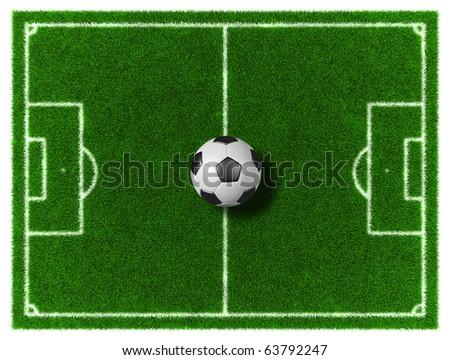 Football/Soccer grassy field with soccer ball