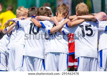 Football; soccer; handball; volleyball; match for children. shout team, football soccer game. Team work and unity. Time break.