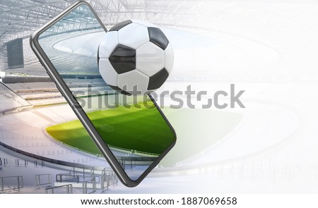 Football soccer sport stadium field, smartphone with ball, tribunes. Mobile football soccer championship arena. Watching sports, gaming apps, betting online, coronavirus impact sport events 3D concept