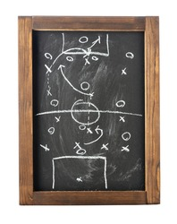 Football (soccer) tactics on chalkboard isolated on white