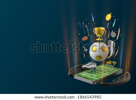 football sport online on the smartphone. football field screen phone. football tournament concept. sport online channel. sport application online. soccer channel. soccer competition. 3d illustrator.