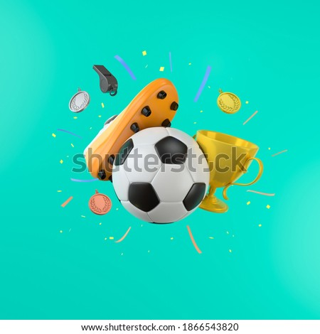 football sports object on blue background. football shoes kick the ball. gold cub and gold medal silver copper. football concept design. sport competition. celebration winner. symbol 3d illustrator