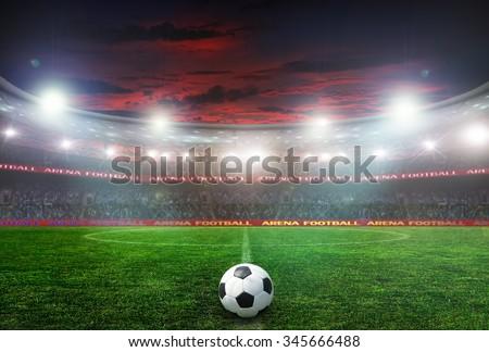 football stadium before the game. night lighting #345666488