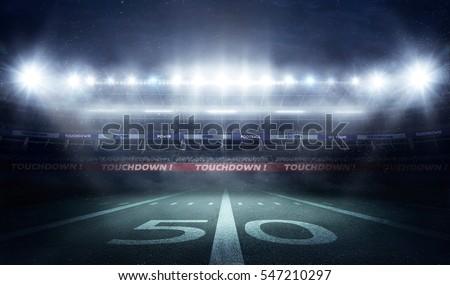 football stadium 3D in lights at night render