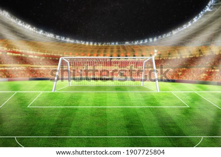 Football stadium 3d rendering soccer stadium with crowded field arena