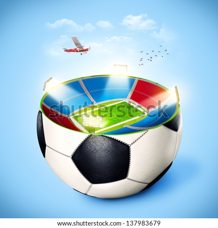 Football stadium in a ball