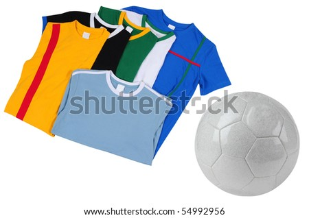 Football T-Shirts and soccer ball. Isolated