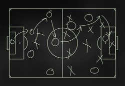 Football tactics on a blackboard - close-up