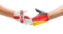Football teams - Handshake between Northern Ireland and Germany