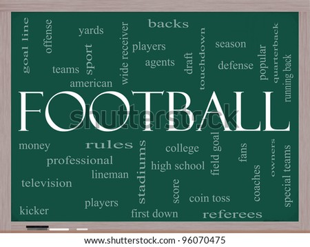 Football Word Cloud Concept on a Chalkboard with great terms such as touchdown, season, quarterback, fans, games, draft and more.