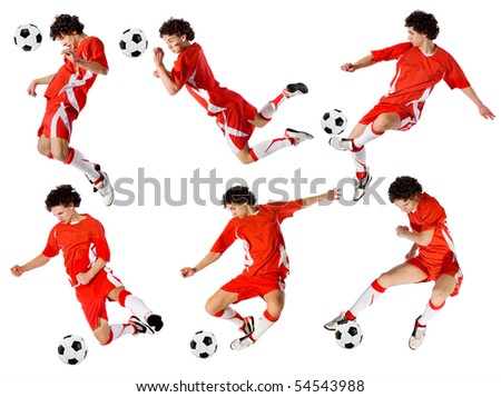 footballer beating on a ball in a jump on a white background.set of images