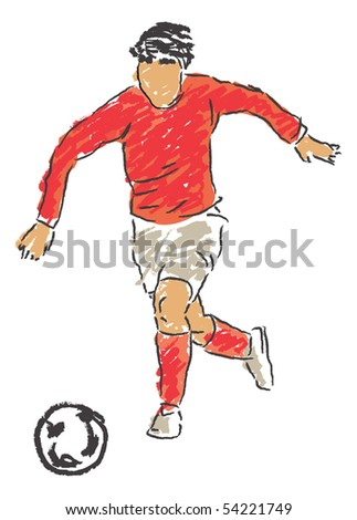 Footballer drawing freehand made to the computer