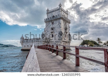 Footbridge and east side of Belem Tower