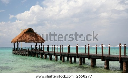 Footbridge and refuge in a caribbean lagoon