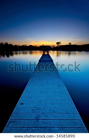 footbridge at dusk