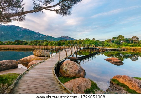 Footbridge at Tidal River, Wilsons Promontory with surrounding trees and rocks at sunrise