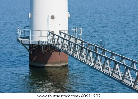 Footbridge for maintenance of a windmill standing in the sea;  the Netherlands