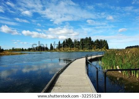 footbridge in astotin lake, elk island national park, Alberta, Canada