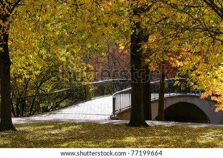 Footbridge in the Fall, Boston Esplanade.
