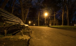 Footpath at night in the park.  Alley in the park with light poles and benches