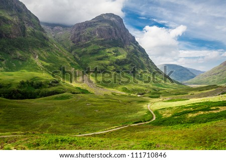 Footpath in the sunny Scotland highlands