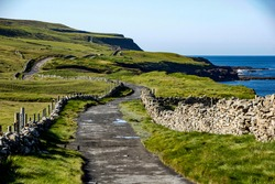 Footpath leading from Doolin to the Cliffs of Moher, County Clare, Ireland