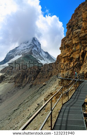 Footpath to Matterhorn, Hornligrat side, Switzerland