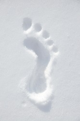 Footprint drawn on the snow