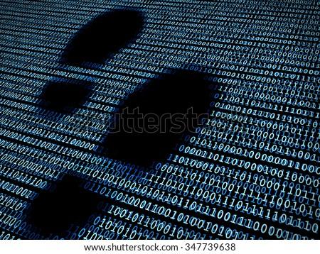 Footprint in digital background / A concept of digital footprint