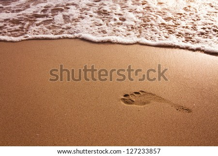 Footprint in the sand on the beach