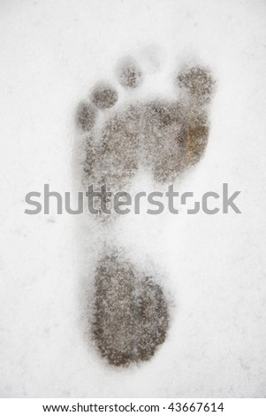 Footprint in the snow at the sauna