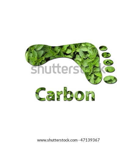 Footprint made up of green leaves to represent environmet issues or carbon footprint. Water photo from Nasa.