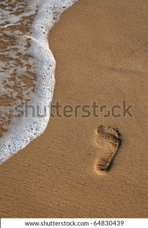 "Footprint on pristine golden sandy beach and waterline - Madeira ""Port Santo"" Portugal"