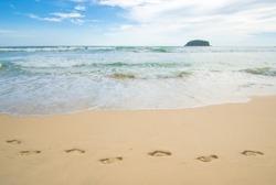 footprint on the beach, footprint on the sand .The asian beach